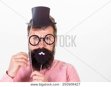 Dress Affects How People See You. Man Bearded Hipster Hold Cardboard Top Hat And Eyeglasses To Look