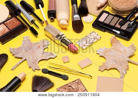 Autumn Makeup. Make Up Products Brown And Golden Colours With Maple Leaves Made Of Bark