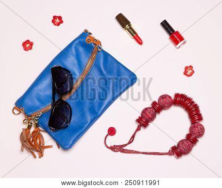 Fashion Women Accessories. Mini Bag, Sunglasses, Necklace, Red Lipstick And Nail Polish