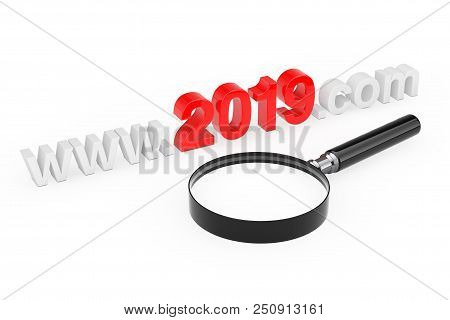 2019 New Year Concept. Www 2019 Com Site Name With Magnifying Glass On A White Background. 3d Render
