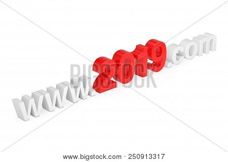 2019 New Year Concept. Www 2019 Com Site Name On A White Background. 3d Rendering