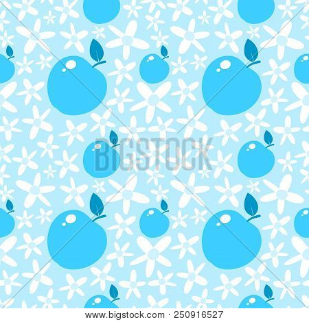 Light Blue Seamless Pattern With Apples And Daisies