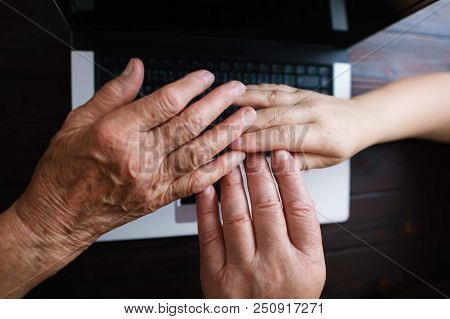 Generations Connect, Family, Modern Lifestyle, People Communication And Technology. Parents And Chil