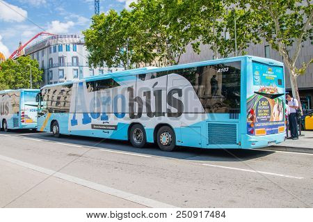 Barcelona, Spain - June 7, 2018: Aerobus In Barcelona. Bus To Barcelona-el Prat Airport.