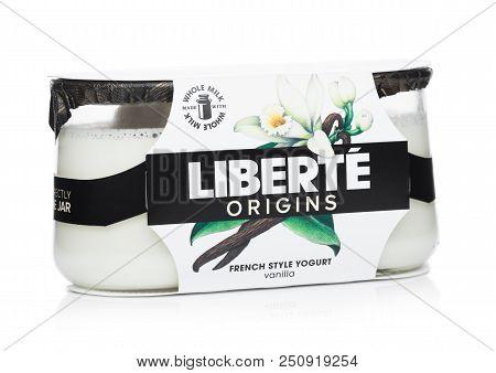 London, Uk - July 28, 2018: Pack Of Liberte Origins French Style Yogurt With Vanilla Flavour On Whit