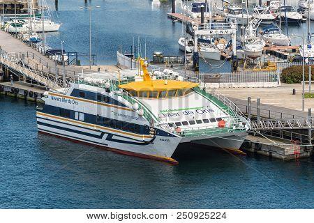 Vigo, Spain - May 20, 2017: Passenger Ship Mar Vigo Moored In The Port Of Vigo, Galicia, Spain. Vigo