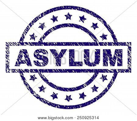 Asylum Seal Print With Distress Texture. Designed With Rectangle, Circles And Stars. Blue Vector Rub