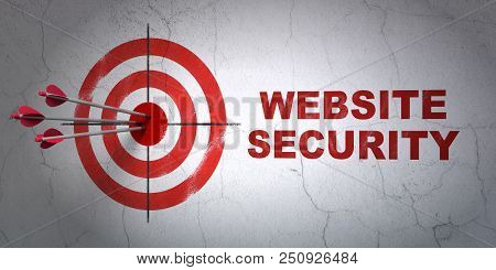 Success Safety Concept: Arrows Hitting The Center Of Target, Red Website Security On Wall Background