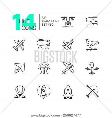 Air Transport - Thin Line Design Icons Set. Black Pictograms. Plane, Helicopter, Airship, Balloon, J