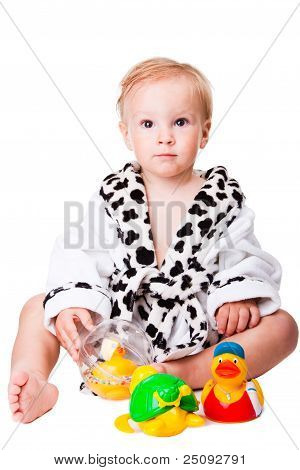 Baby Boy Playing With  Toys After Bathing