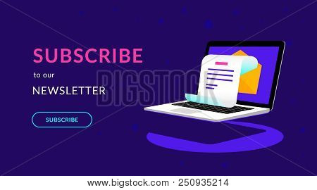 Subscribe To Our Newsletter Flat Vector Neon Illustration For Ui Ux Web Design With Text And Button.