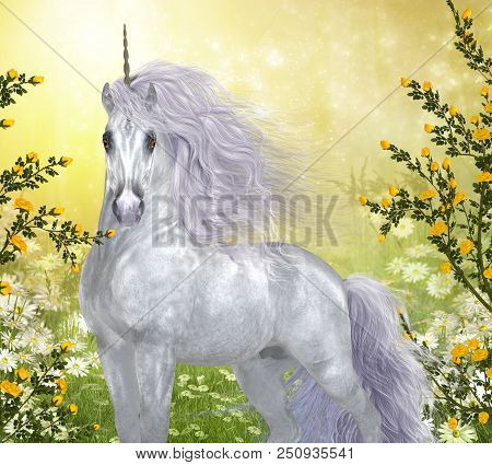 Unicorn White Male 3d Illustration - Yellow Roses And White Daisies Surround A Beautiful Enchanted W