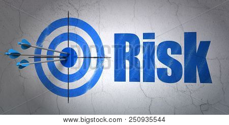 Success Business Concept: Arrows Hitting The Center Of Target, Blue Risk On Wall Background, 3d Rend