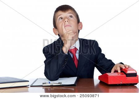 Pensive businessman in the office isolated on a over white background