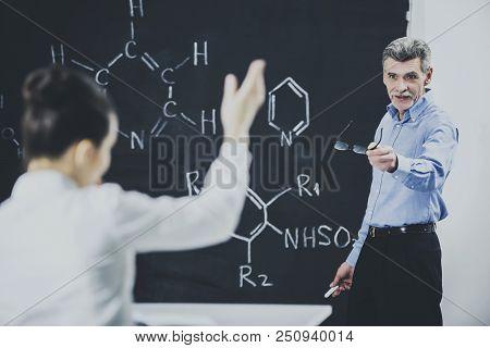 Professor Ask Student About Chemistry Formula. Teacher Leading Lecture. University Classroom. Educat
