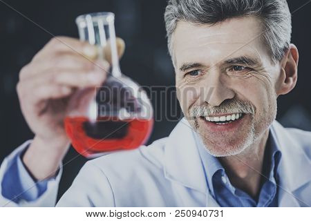 Happy Professor Look At Vial With Chemical Liquid. Educational Process. Biochemistry Discovering. Ex