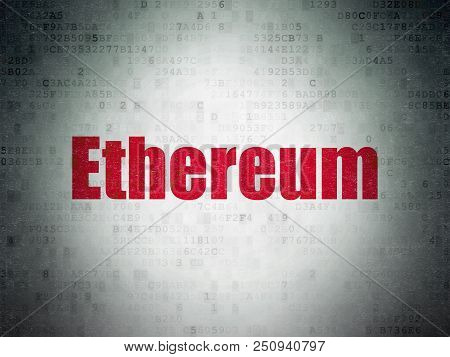 Cryptocurrency Concept: Painted Red Word Ethereum On Digital Data Paper Background
