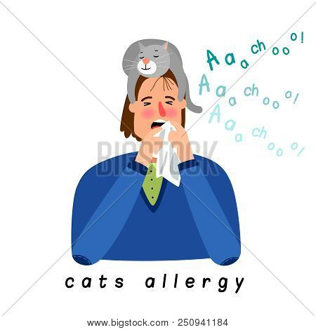 Cat Allergy Woman. Cartoon Girl With Season Allergic Rhinitis, Woman Nose Blowing Cats Disease React