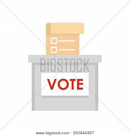 Vote Election Box Icon. Flat Illustration Of Vote Election Box Vector Icon For Web Isolated On White