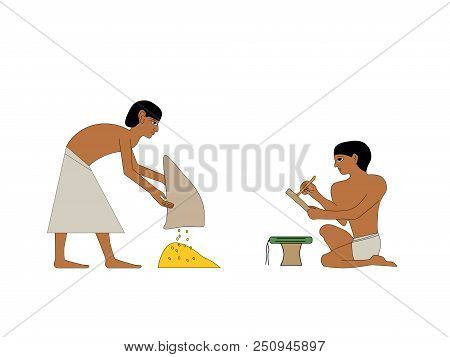 Ancient Egypt Grain Carrier And Scribe Countin Grain Illustration, Man At Work, Group Of Workers, Eg