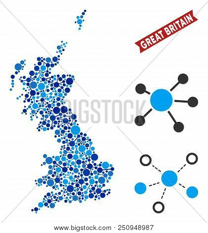 Web Great Britain Map Mosaic. Abstract Territorial Scheme Of Links In Blue Color Tones. Vector Great