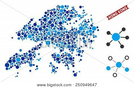 Web Hong Kong Map Collage. Abstract Territorial Plan Of Connections In Blue Color Tinges. Vector Hon