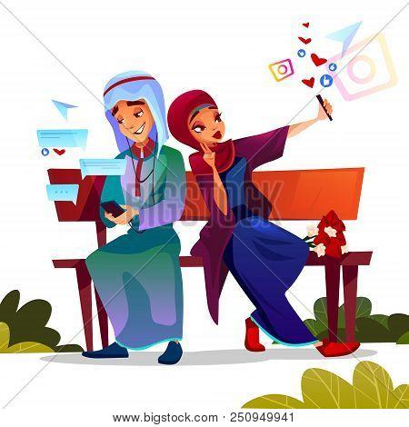 Young Couple Dating Vector Illustration Of Saudi Arabian Teen Boy And Girl In Hijab And Khaliji Occu