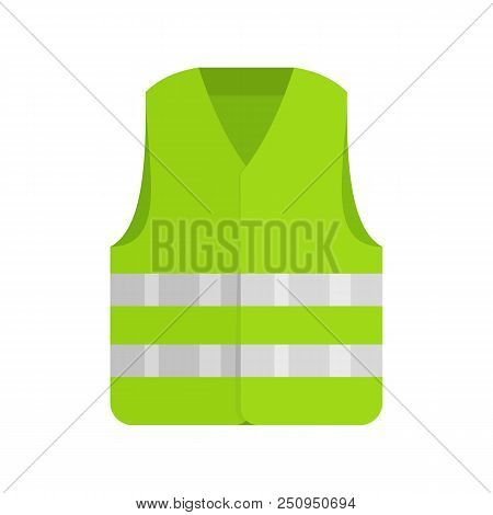 Driver Reflective Vest Icon. Flat Illustration Of Driver Reflective Vest Vector Icon For Web Isolate