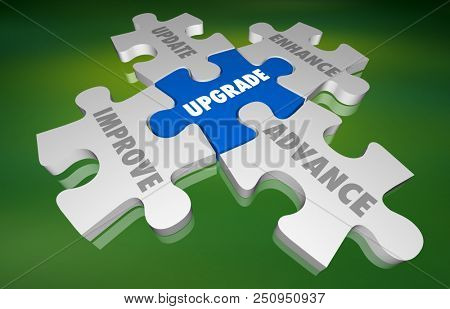 Upgrade Update Improve New Modernize Puzzle 3d Illustration poster