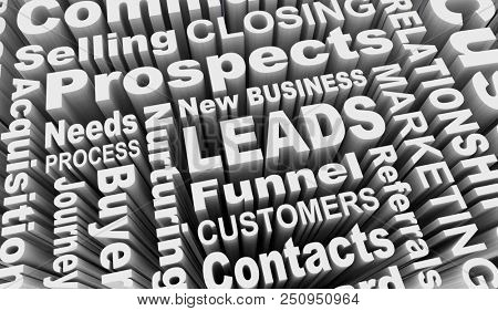 Leads New Business Prospects Customers Words 3d Illustration