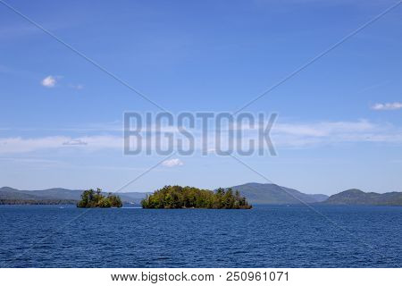 Tiny Islands In The Middle Of Lake George In New York