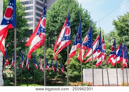 Ohio State Flags At The State Capital In Capitol Square In Columbus, Ohio