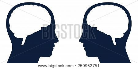 Two Heads With Brain Silhouette Facing Each Other. Symbol For Same Or Different Kind Of Thoughts, In