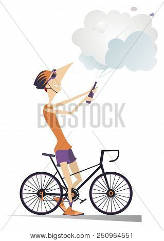 Cyclist Man Wins The Race Isolated Illustration. Cyclist Celebrates A Win And Opens A Bottle Of Cham