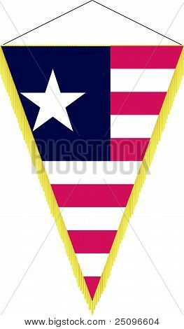 Vector Image Of A Pennant With The National Flag Of Liberia