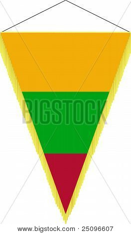 Vector Image Of A Pennant With The National Flag Of Lithuania