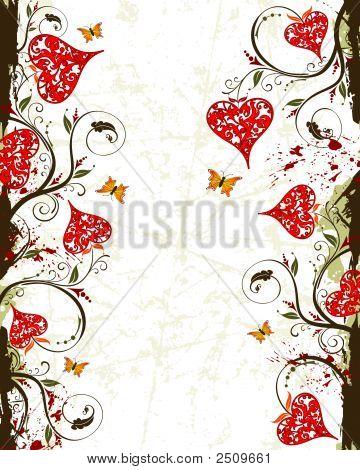 Valentinstag Grunge hintergrund mit Herzen und Blumen