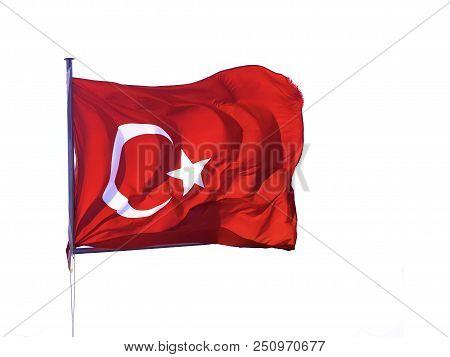 Flag Of The Republic Of Turkey Waving.