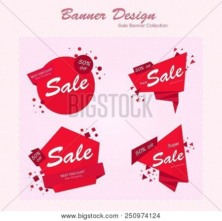 Abstract Red Origami Shapes. Abstract Origami Banners. Round Red Banners. Vector Banner Icons. Vecto