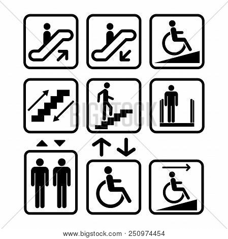Escalator And Elevator Sign. Ramp, Lift Signs. Black Isolated Icons. Staircase Sign.