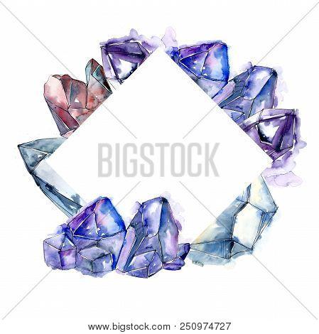 Blue Diamond Rock Jewelry Mineral. Frame Border Ornament Square. Geometric Quartz Polygon Crystal St