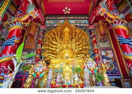 Golden Statue of Guan Yin with 1000 hands poster