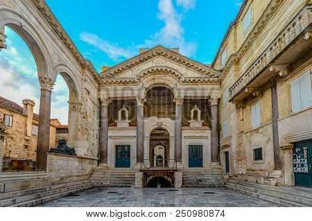 Early Morning At The Peristyle Or Peristil Inside Diocletians Palace In The Old Town Section Of Spli