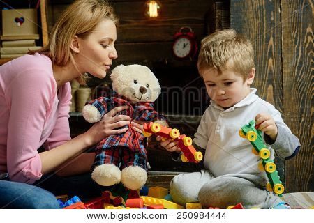 Creativity Concept. Mother And Baby Son Play With Toys, Creativity. Creativity And Imagination For C