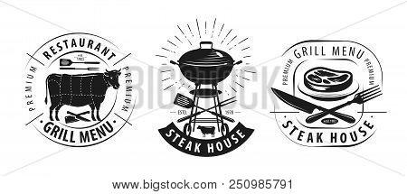 Steak House, Barbecue Logo Or Label. Emblems For Restaurant Menu Design. Vector
