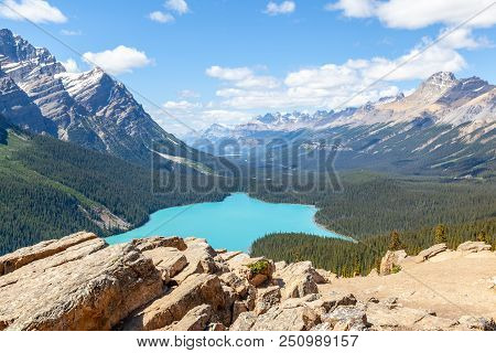 Bow Summit In Banff National Park Overlooking Peyto Lake On The Icefields Parkway. The Glacier-fed L