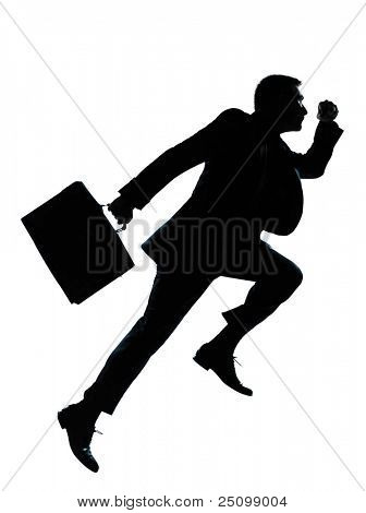 one caucasian business man jumping running  silhouette Full length in studio isolated on white background poster