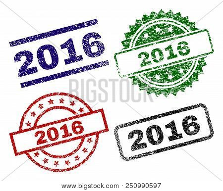 2016 Seal Prints With Distress Texture. Black, Green, Red, Blue Vector Rubber Prints Of 2016 Tag Wit