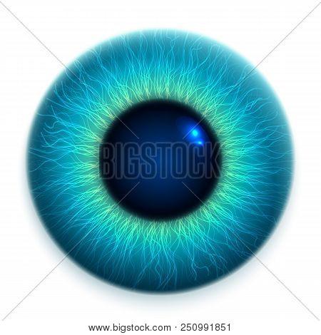 Close-up Of Human Eye, Cornea, Retina, Pupil. Blue 3d Iris. Eyeball Icon Design Isolated On White Ba