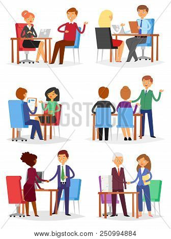 Interview Vector Interviewed People On Business Meeting And Interviewee Or Interviewer In Office Ill